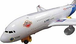 Airbus Plane Flashing Lights Music Kids Toy Battery Operated Bump N Go Aeroplane