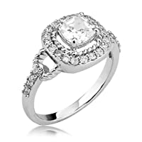 Sterling Silver Ring Princess Cut Cubic Zirconia CZ Ring 1.67 ct.tw - Nickel Free Engagement Wedding Ring (Available in Sizes 5 to 9) by Cavalier Jewelers
