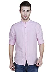 Showoff Men's Full Sleeves Slim fit Pink Solid Casual Shirt