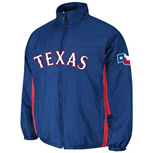 Texas Rangers Royal Authentic Double Climate On-Field Jacket by Majestic by Majestic