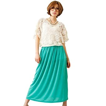 074bf41090a42 スカートロングスカート♪◎フレアスカート ロング レディース 5色 ブラック オレンジ ブルー