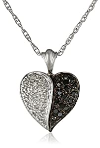 Sterling Silver Black and White Diamond Heart Pendant Necklace (1/4 Cttw), 18