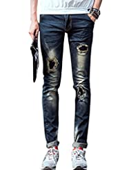 Men Natural Waist Zip Fly Destroyed Detail Leisure Jeans