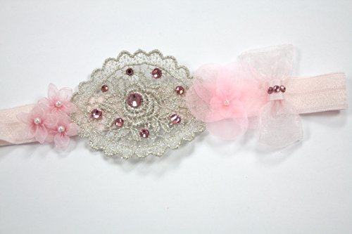 Pink With Silver Soft Stretch Band Added Swarovski Rhinestones (3-6Months) front-897187