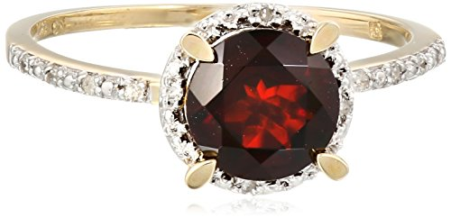 10k Yellow Gold Garnet and Diamond Circle Ring (0.05 Cttw, G-H Color, I2-I3 Clarity), Size 6