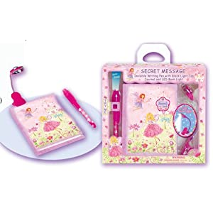 Girls Fairy Princess Secret Journal Diary with Invisable Ink Pen and Clip Led Light Box Set: Best Seller Tween Gift.