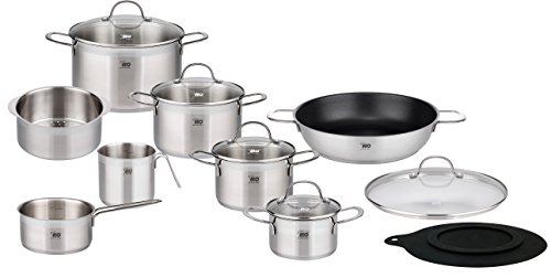 ELO 14-Piece Collection 18/10 Stainless Steel Kitchen Induction Cookware Pots and Pans Set with Shock Resistant Glass Lids and Integrated Measuring Scale (German Cookware Brands compare prices)