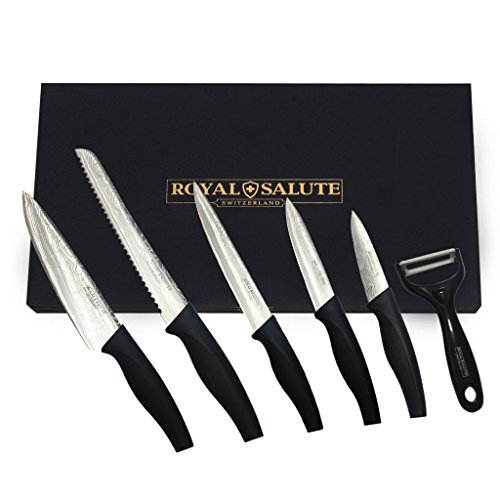 [Cyber Monday]IBEET 6 in 1 Damascus Coating Stainless Steel Blades, Full Tang 5 Piece with Peeler Chef Kitchen Professional Knife Set (Plastic Coated Butcher Paper compare prices)