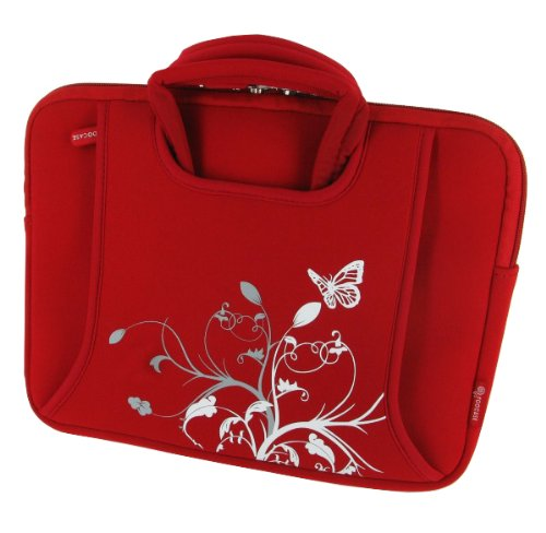 rooCASE Neoprene Netbook Sleeve Prove for Acer Aspire One AO721-3070 11.6-inch (Spring Butterfly - Red)