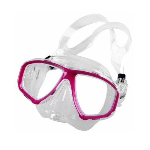 b1d7c946fa The Features New ScubaMax Malin Scuba Diving Snorkeling Mask with One way  Purge Valve for Easy Clearing Pink Frame on Clear Silicone Skirt -