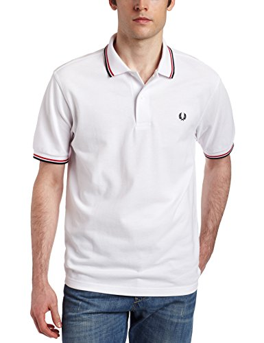 FRED PERRY TWIN TIPPED POLO WHT/BRT Red/NVY