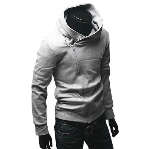 Men Long Sleeve Hooded Zip up Autumn Sweatshirt Coat Light Gray L
