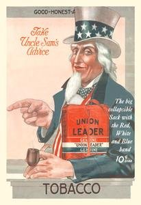 30 x 20 Stretched Canvas Poster Take Uncle Sam's Advice - Union Leader Tobacco