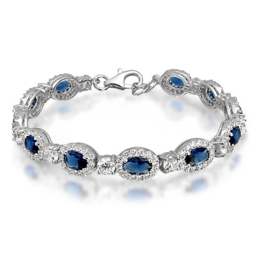 Bling Jewelry Oval Blue Sapphire Color CZ Sterling Silver Tennis Bracelet 7.5in