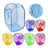 POSITIVE (ポジティブ) 折りたたみ メッシュ カゴ (個数が選べます!) 使い方は自由 洗濯かご ランドリーバスケット 衣服入れ アウトドア での おしゃれ な 収納ボックス ごみ箱 子供の おもちゃ入れ などに オリジナルロゴ入りパッケージ (3色 セット)