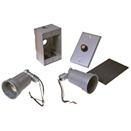 Hubbell-Bell 5883-5 OUTDOOR WEATHERPROOF LAMPHOLDER KIT, RECTANGULAR WITH PHOTOCELL, GREY BOXED