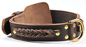 "Dean and Tyler ""BRAIDED HEAVEN"", Leather Dog Collar with Solid Brass Hardware - Brown - Size 24-Inch by 1-3/4-Inch - Fits Neck 22-Inch to 26-Inch"