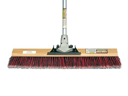 Commercial Push Broom By Flex Sweep (Contractors 24 Inch) Fine Bristles Smooth-Surface