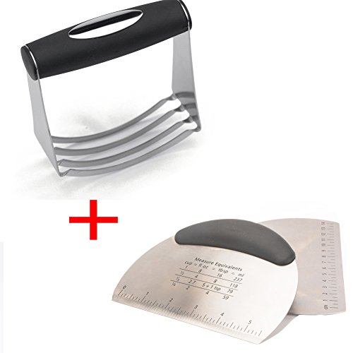 SASRL Pastry Cutter Stainless Steel - Professional Baking Dough Blender and Pastry Pizza Dough Cutter Scraper Multipurpose Bench Scraper