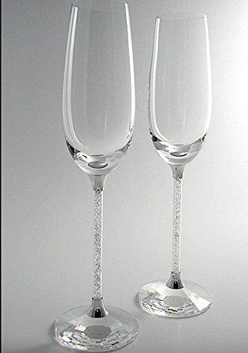Nuovo esclusivo con cristalli Swarovski Flute da champagne (Coppia) più perfetto regalo per anniversario di matrimonio fidanzamento in etichette con Swarovski Elements