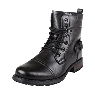 Polar Fox MPX508006PL Mens Military Style Combat Lace-up Rugged Leather Boots, MPX508006PL, COLOR BLACK SIZE 7