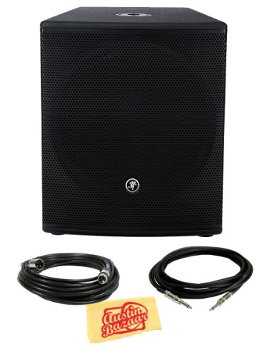 Mackie Srm1801 1,000-Watt 18-Inch Powered Subwoofer Bundle With Xlr Cable, Instrument Cable, And Polishing Cloth