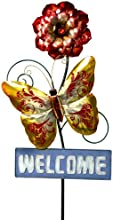 River Cottage Gardens J108041-UPS Metal Construction Butterfly with Red Flower Welcome Stake