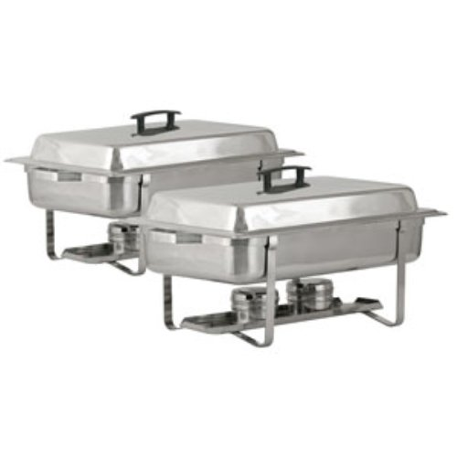 Royal Industries 2 Count Welded Frame Food Chafers Set, Silver