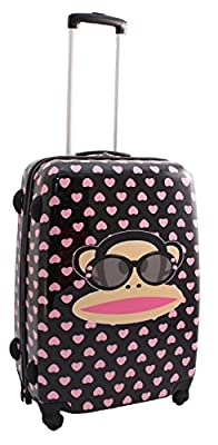 Paul Frank Cheeky Monkey Black with Dusty Pink Hearts Large Hard Shell Suitcase