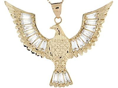 10k Real Gold 4.22cm Diamond Cut Spread Wings Eagle with Baguette CZ Pendant