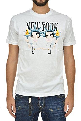 DSQUARED2 T-Shirt in Cotone Bianco Uomo Nuovo - Taglia: L