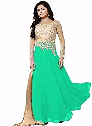 Universal Creation net and georgette lehenga choli for women(green)
