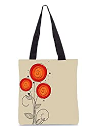 Snoogg Abstract Floral Background Designer Poly Canvas Tote Bag - B012FUA2YQ