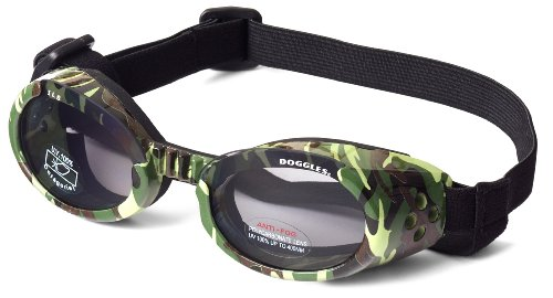 Dog Goggle Sunglasses in Camo and Smoke Lenses - Green, X-Small