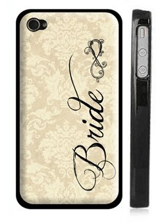 Vintage Damask &#8220;Bride&#8221; iPhone 4 Case &#8211; Wedding Bride iPhone 4s Case with Infinity Sign