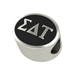 Sigma Delta Tau Black Antique Oval Sorority Bead Charm Fits Most Pandora Style Bracelets. High Quality Bead in Stock for Fast Shipping. Officially Licensed