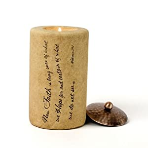 Comfort Candles Faith by Pavilion 5-Inch Cylinder Candle Holder Includes Tea Light Candle