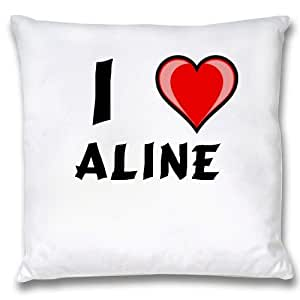 Amazon.com: White Cushion Cover with I Love Aline (first name/surname