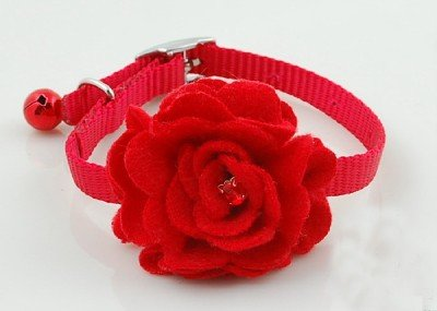 Lightahead® Fancy Collar for your Pet Dog Cat rose flower bandana cravat floral nectie (Red)