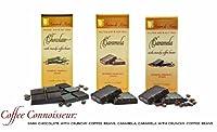 COFFEE CONNOISSEUR - Case of 15 Luxury Dark Chocolate & Caramela bars: Vegan, Free of Gluten, Peanuts, Tree Nuts, Milk & Soy, All Natural, Allergen & Diabetic Friendly.