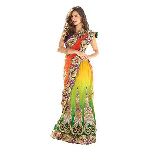 Aagaman-Fashion-Faux-Georgette-Net-Sarees-TSPL2208Multi