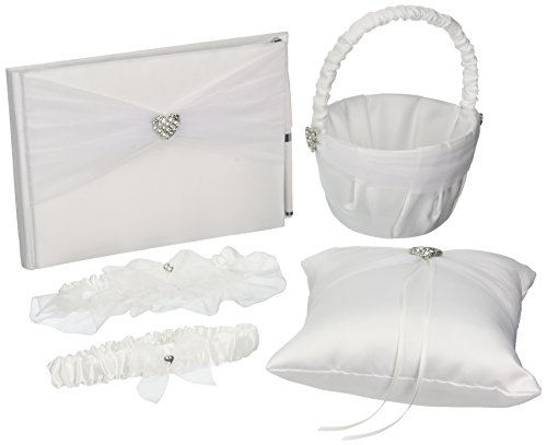Darice VL441W 5-Piece Rhinestone Heart Guest Book Set with Pen Wedding Ring Pillow/Flower Girl Basket and 2 Garters, White