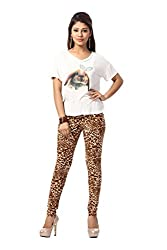 HIVA Women's Designer Printed Poly Cotton Beige Stretchable Leggings (Free Size)