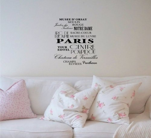 Musee D' Orsay, Moulin Rouge, Jardin Des Tuileries, Notre Dame, Arc De Tromphe, Sacre-Coeur Musee Du Luvre, PARIS, Tour Eiffel, Centre Pompidou, Chateau de Versailles, Champs Elysees, Pantheon Vinyl wall art Inspirational quotes and saying home decor decal sticker steamss