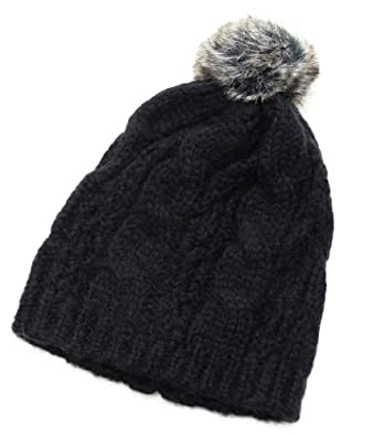 Knitted Beanie Hat cable knit with Faux Fur Pom BLACK, UNISEX!