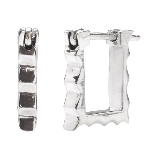 Sterling Silver Flawlessly Finished Huggie Earrings for Men and Women, Zig Zag Pattern Square-shape, 0.5