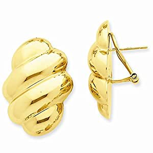 com: 14k Yellow Gold Polished Fancy Omega Back Post Earrings: Jewelry