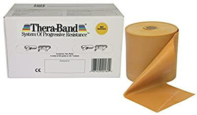 Thera-Band Professional Non-Latex Resistance Bands For Rehabilitation, Portable Fitness and Workout, Home Exercise, 25 Yard Roll Dispenser Box,