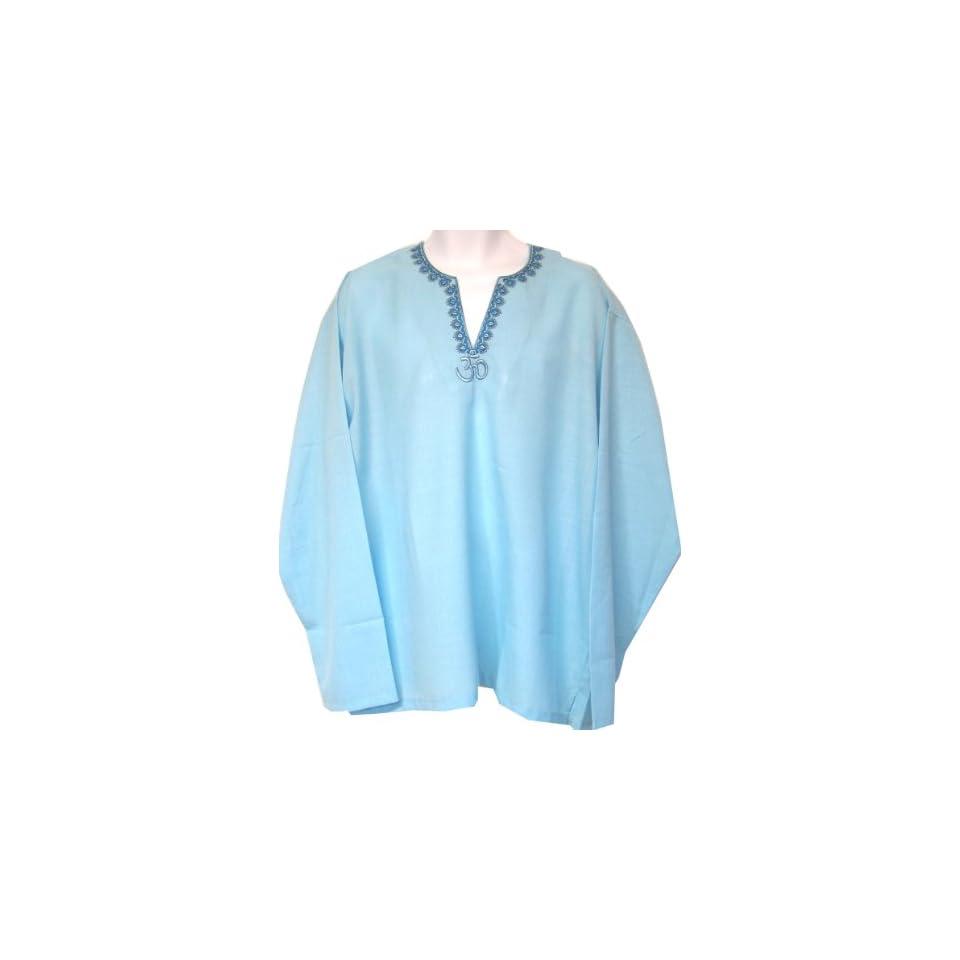 Designer Embroidered Cotton Mens Kurta Shirt Indian Clothing (Blue, XL)