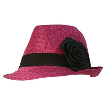 Luxury Divas Fuchsia Pink Fedora Hat W/Black Band & Rosette at Amazon